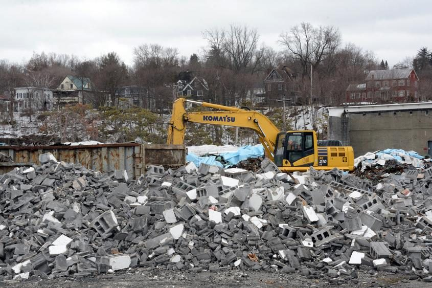 Demolition work takes place in 2015 at the old Beech-Nut facility in Canajoharie.