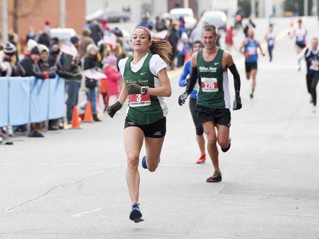 Karen Hughes of Albany approaches the finish line of the 2019 MVP Stockade-athon on Sunday, Nov. 10.