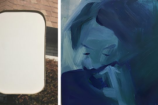 """Left: """"Overton Window 1"""" Jesse Meredith, Oce print, oriented strand board.  Right: """"XN"""" Aurora Andrews, oil on canvas."""