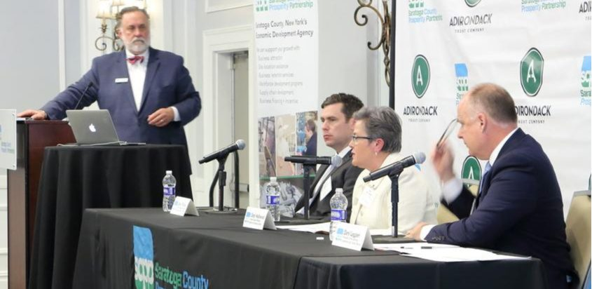 From left, Marty Vanags, David O'Rourke, Cindy Hollowood and Darryl Leggieri are shown Wednesday at a discussion of tourism.