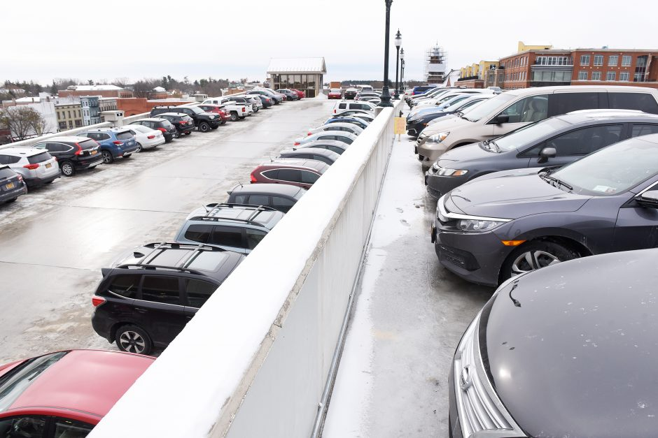 A parking lot in Saratoga Springs is full to the third floor of Woodlawn Parking garage on Thursday.