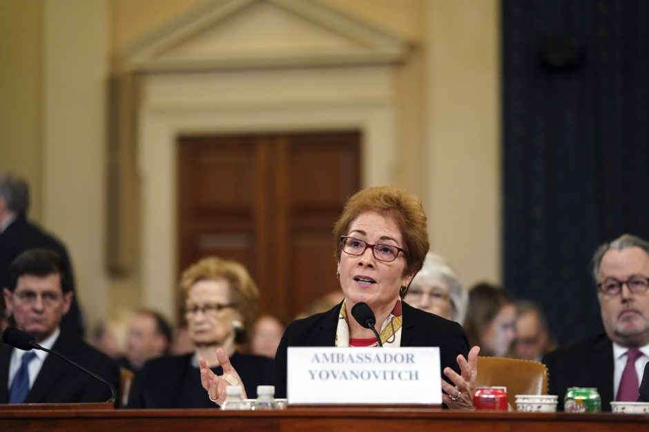 Marie Yovanovitch, the former US ambassador to Ukraine, testifies before the House Intelligence Committee in Washington.