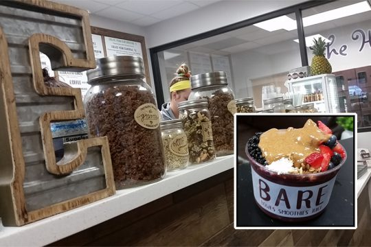 The counter inside Bare in Guilderland. Inset, a Very Berry bowl topped with almond butter, granola, coconut, and blueberries.