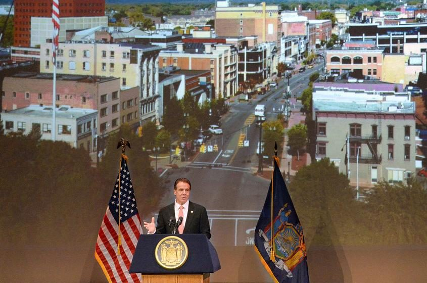 Gov. Andrew M. Cuomo announces $10M revitalization grant for Schenectady at the G.E. Theater in Proctors.