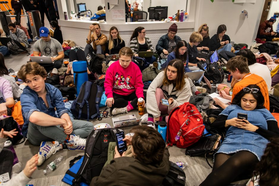 Syracuse University students stage sit-ins in response to a string of racist incidents in Syracuse, N.Y., on Nov. 19, 2019.