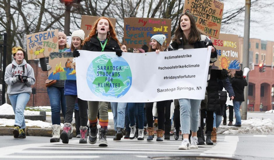 The Students for Klimatet Rally at Congress Park in Saratoga Springs on Friday.