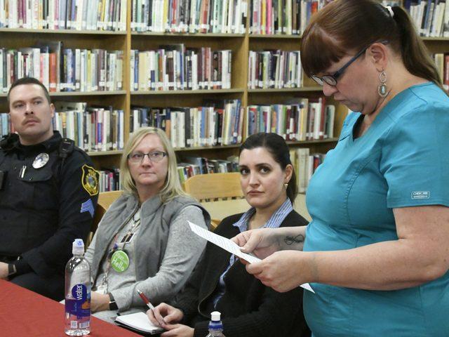 Jana Hoffman, right, talks about binge drinking during a recent underage drinking awareness forum at Niskayuna High School.