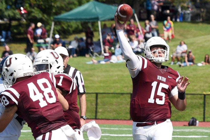 Union quarterback William Bellamy throws a pass against Westfield State.
