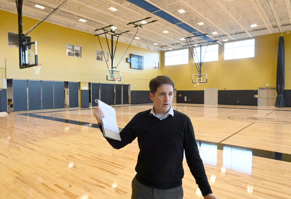 Shane Bargy, executive director, Boys & Girls Club of Schenectady, in the new gymnasium.