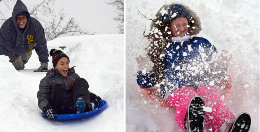 Left: Aidin Warner is pushed by his grandfather down a hill at Collins Park in Scotia; Right: Acacia Goyette, 8, sleds down
