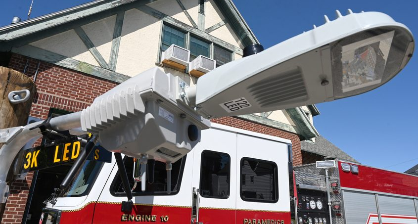 A smart street light on display at a September event in Schenectady