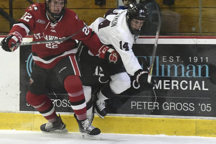 Union's Drew Blackmun (14) chases the puck against St. Lawrence on Nov. 9.