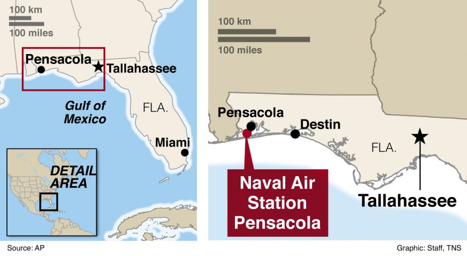Locator map of Navel air station in Pensacola, Florida.