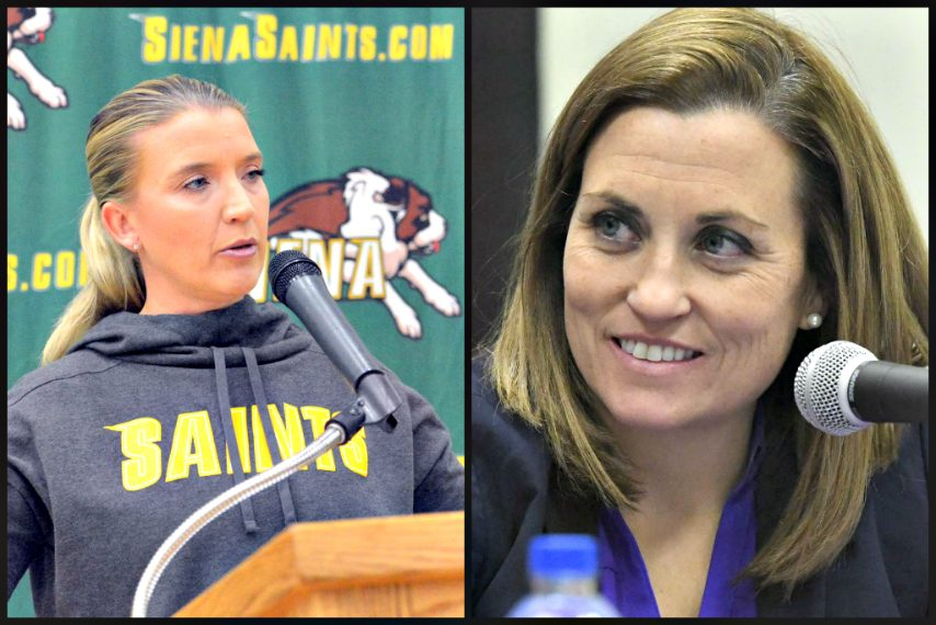 Ali Jaques, left, and Colleen Mullen meet as opposing head coaches Saturday for the first time.