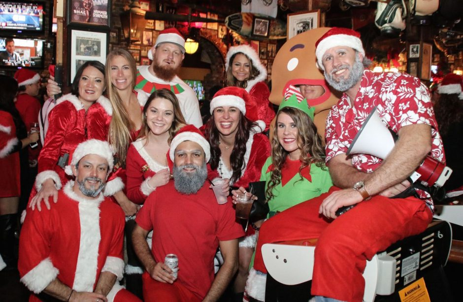 Saratoga SantaCon is a pub crawl that collects food for the Franklin Community Center.