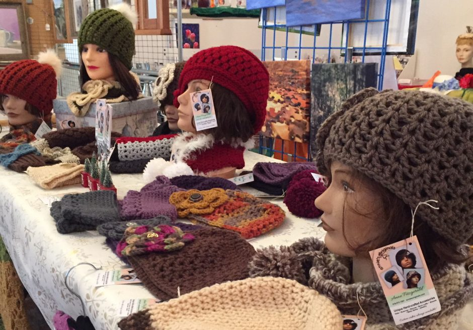 Hats by the Winsome Wench and Annie's Originals are among the many gift items for sale at the Brookside Museum.