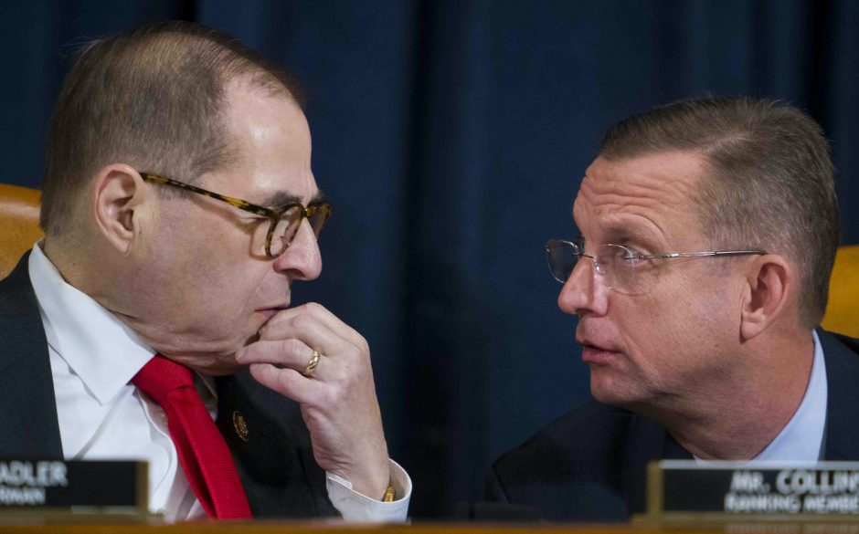 House Judiciary Committee Chairman Jerrold Nadler (D-N.Y.), left, and ranking member Doug Collins (R-Ga.) confer.