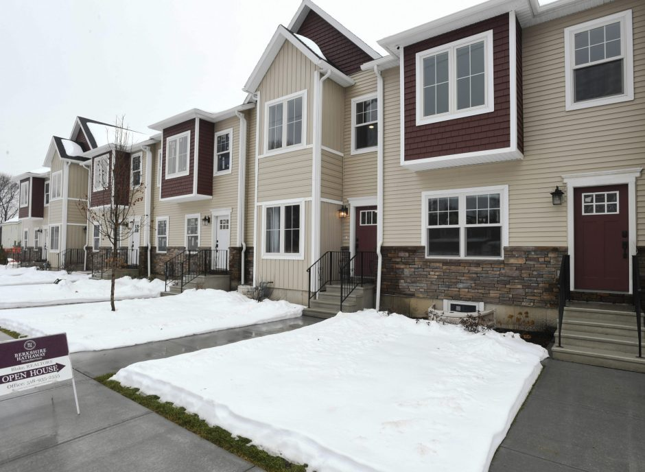 The first six townhouses of a housing development on Barrett Street were unveiled Tuesday.