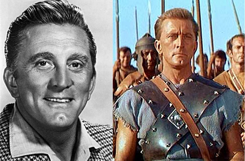 """Kirk Douglas and the actor in a scene from """"Spartacus."""""""