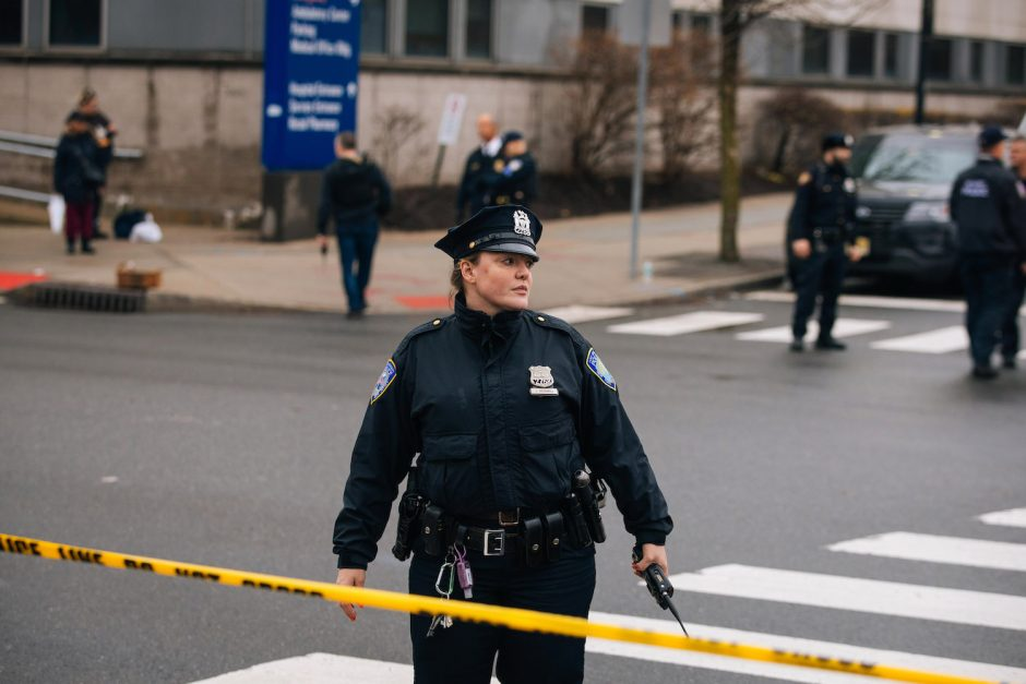 Police officers outside the Jersey City Medical Center after a shooting in Jersey City, N.J., Dec. 10, 2019.