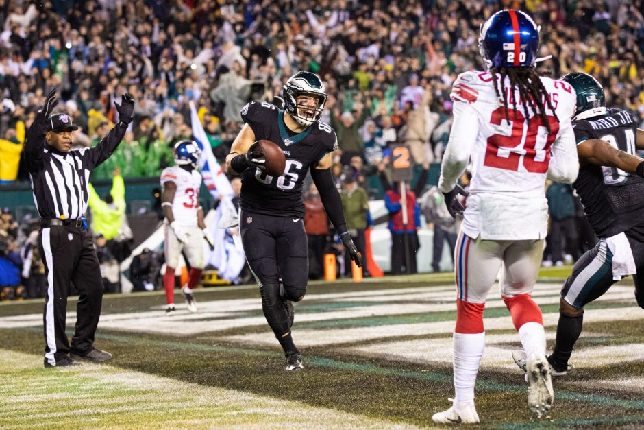 Philadelphia Eagles tight end Zach Ertz reacts after his game-winning TD catch in OT against the New York Giants on Monday.
