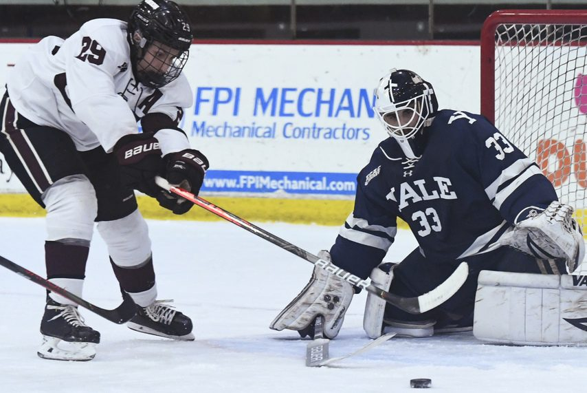 Union's Sean Harrison (29) loses the handle on a backhander against Yale at Messa Rink on Dec. 7.
