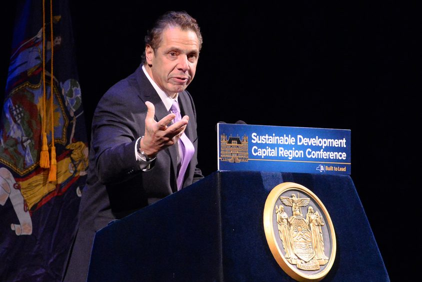 Gov. Andrew M. Cuomo speaks at the Sustainable Development Capital Region Conference that was held at Proctors in 2016.