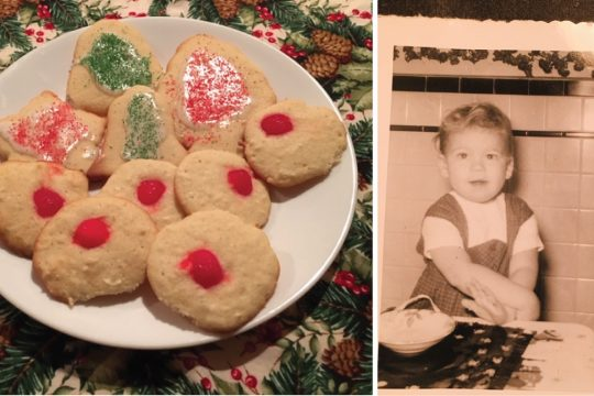 A finished batch of Mrs. Seaton's cookies, right, andthe author ready to lend Mom a hand.