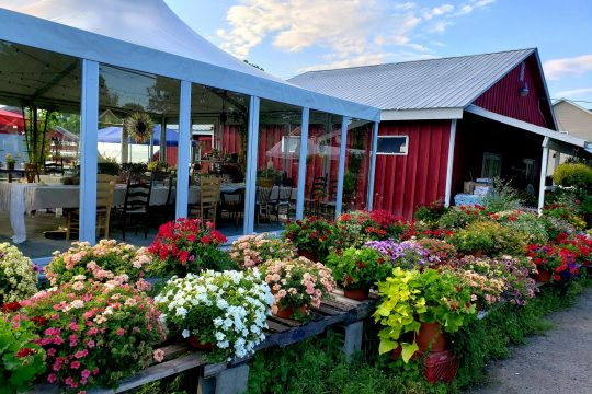 Dining at Field Notes puts guests right on the farm, with a community table inside a tent and the farm stand a few feet away.