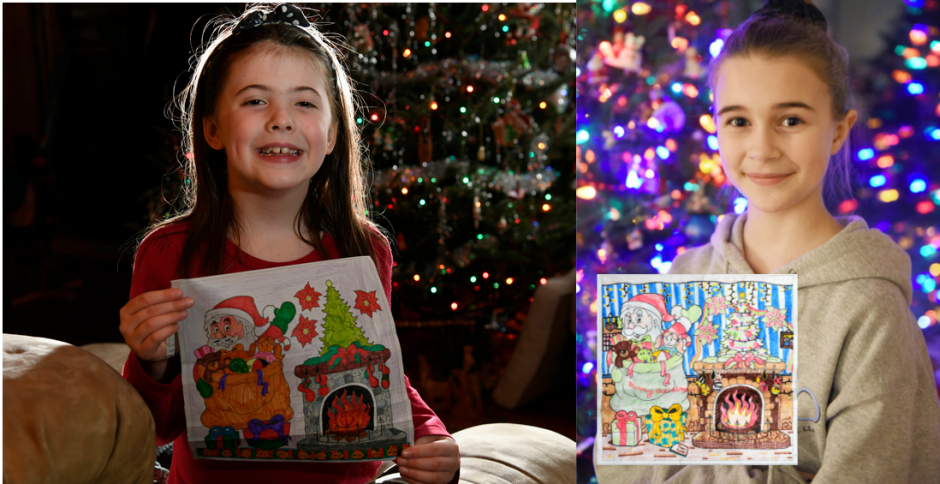 Coloring contest winners Denver Oakes, 7, left, and Maeve Hull, 11, right with their entries