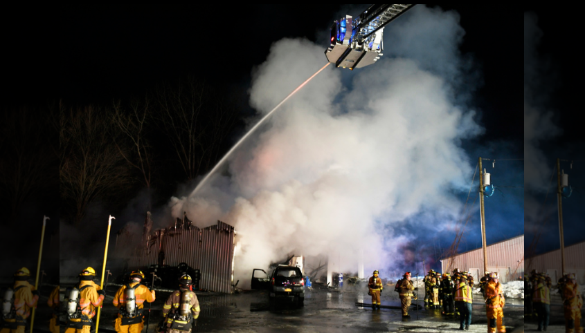 Clifton Park firefighters battle a 3 alarm fire Saturday night on Route 9 in Halfmoon.