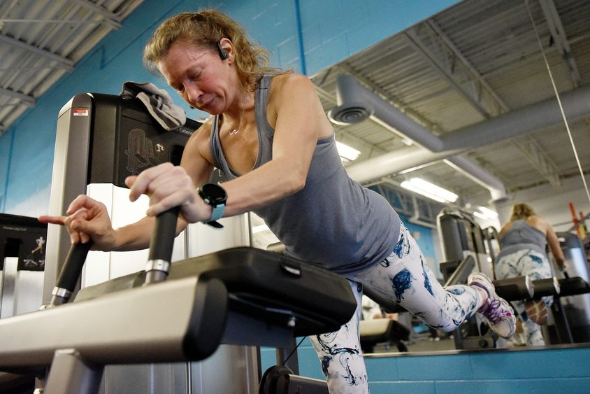Stephanie Davis of Mechanicville works out at the Southern Saratoga YMCA in Clifton Park on Thursday.