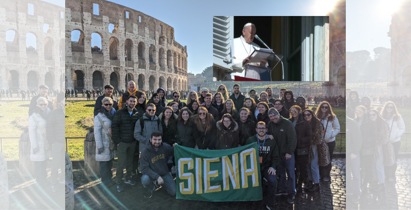 Siena College students in Rome; Screen capture of Pope Francis addressing the Vatican crowd Monday