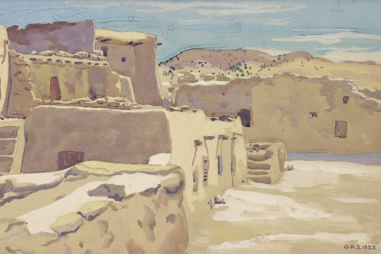 """Pueblo Street Scene,"" Otto Plaug, May 1925. Tempera on paper. Promised gift of Albert B. Roberts."