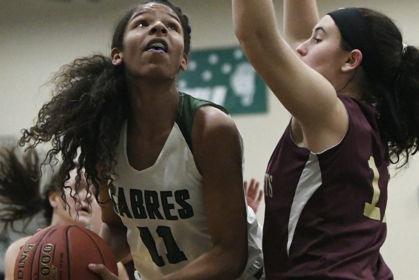 Schalmont's Karissa Antoine is defended by Taylor Van Auken of Notre Dame-Bishop Gibbons in Thursday's non-league game.