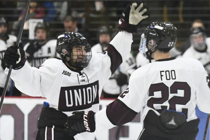 Union's Joseph Campolieto, left, celebrates with Parker Foo after Foo scored in the second period.
