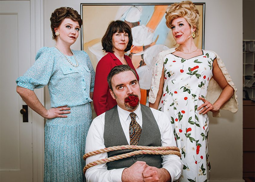 "From left, Kelly Sienkiewicz, Joan Horgan and Erica Buda-Doran and Nick Foster, seated,  in ""9 to 5, The Musical."""