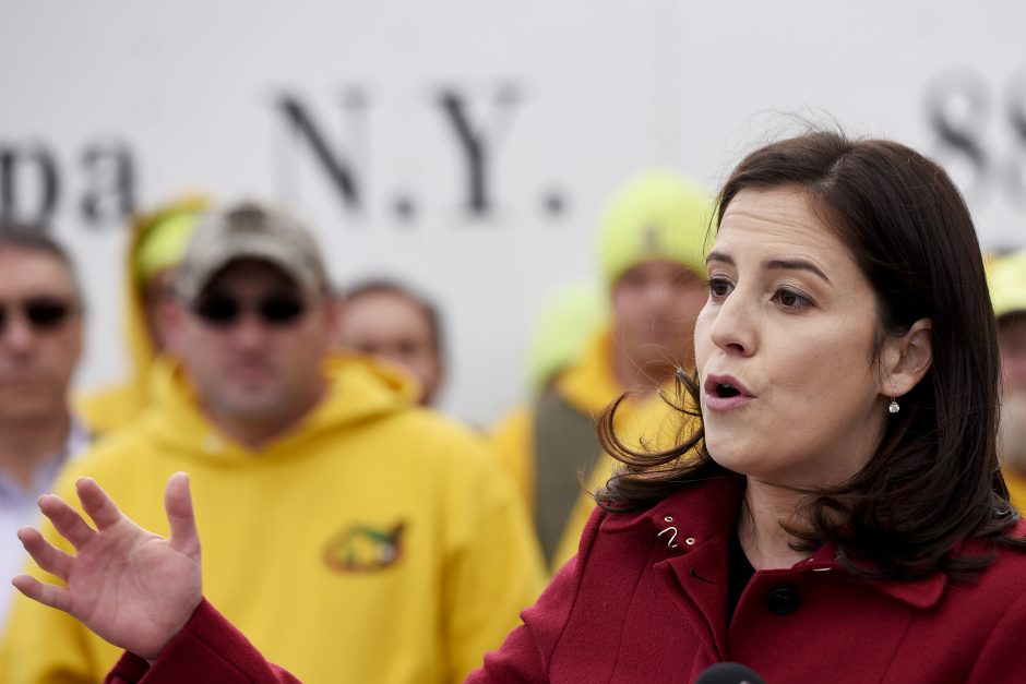 Elise Stefanik holds a press conference with officials after a tour at Curtis Lumber in Ballston Spa in 2018.