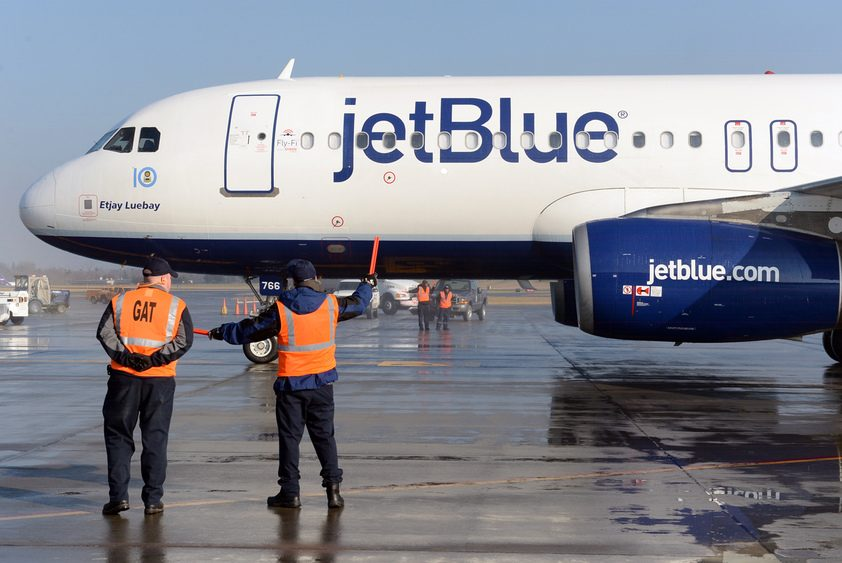 A JetBlue aircraft arrives at Albany International Airport.