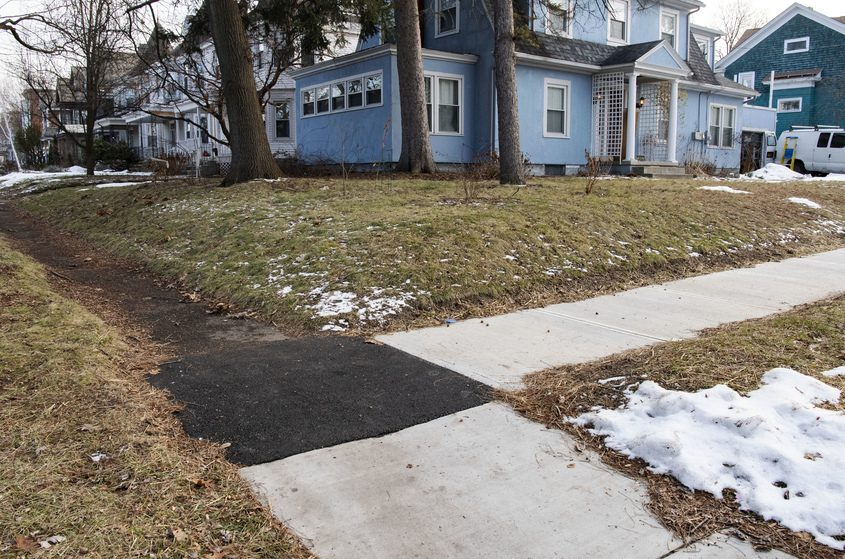 Sidewalks at the corner of Ardsley and Rugby roads in Schenectady are pictured on Jan. 2.