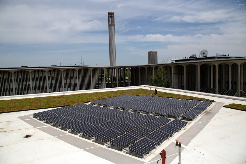 Solar panels are shown on the roof at the Campus Center West addition at the University at Albany.
