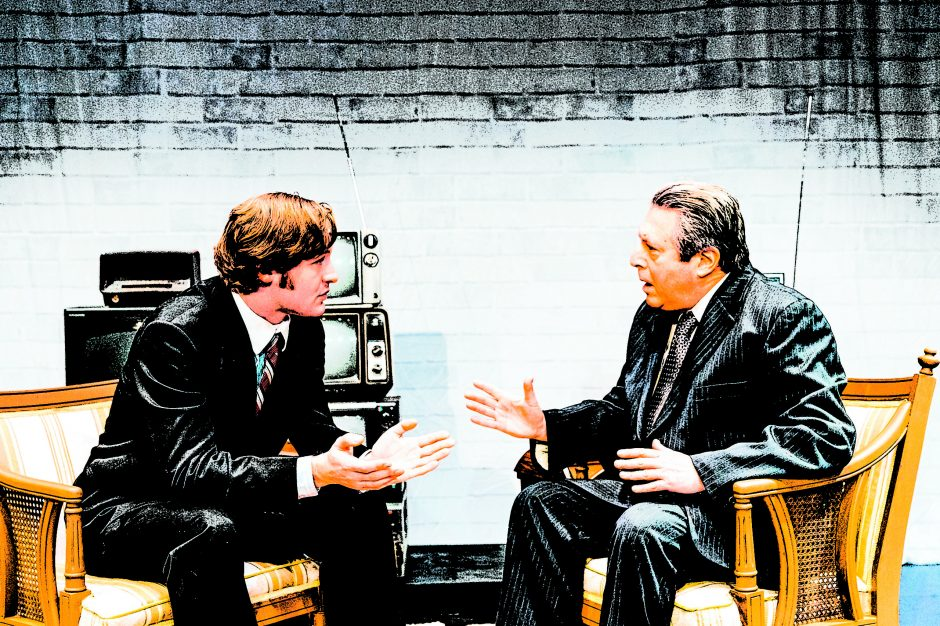 """Conrad T. Browne, left, plays David Frost and Steve Leifer is Richard Nixon in Schenectady Civic's """"Frost/Nixon."""""""