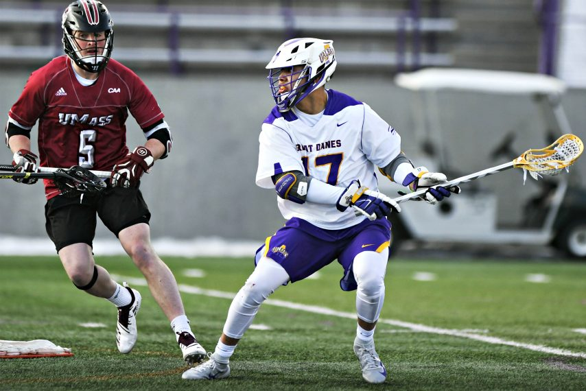 UAlbany's Jakob Patterson is shown during a 2019 game.
