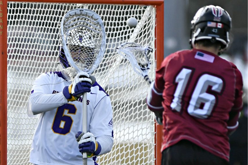 UAlbany goalie Nate Siekierski makes a save during a 2019 game.