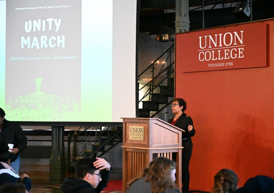 Dr. Gretchel Hathaway, Union College's chief diversity officer, speaks at the MLK Jr. event at the college.