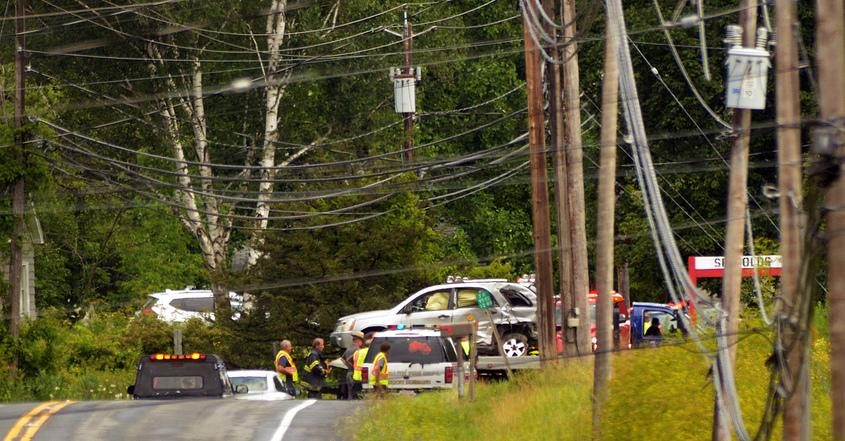 The fatal crash scene involving a dump truck and a Scoharie woman between Route 30A and Barton Hill Road in July 2019.