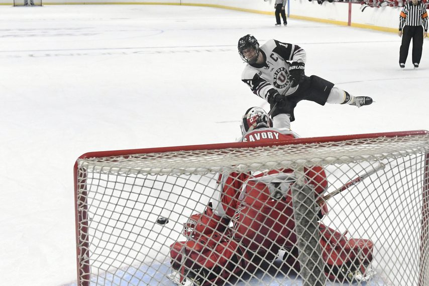 Union's Cole Maier rips the puck past RPI goalie Owen Savory to win the 2019 Mayor's Cup in a shootout.