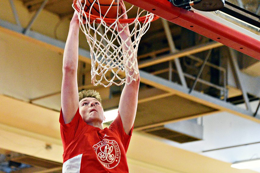 Riley Mulvey dunks during a recent practice.