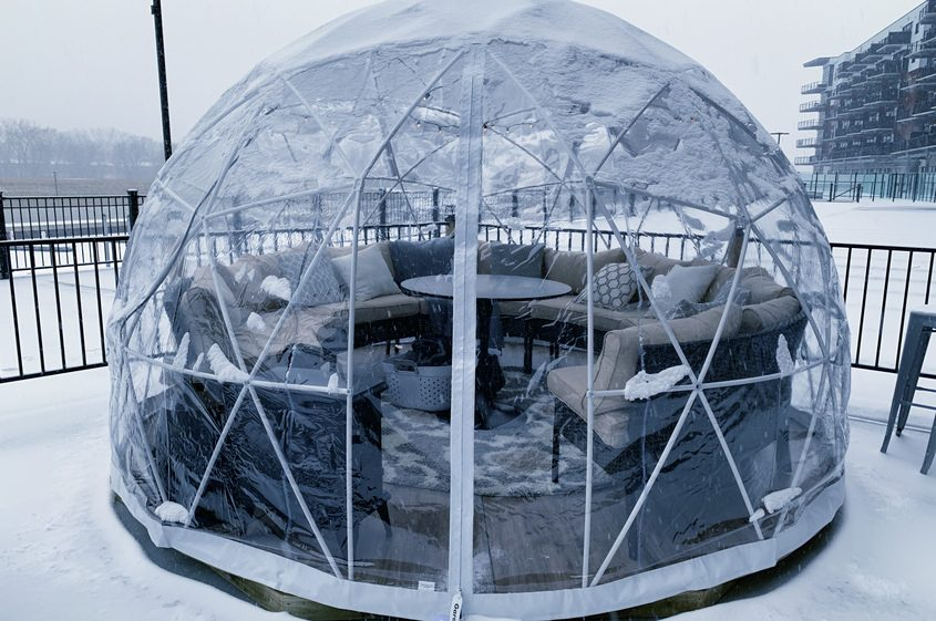 A winter igloo at Shaker and Vine is shown at Mohawk Harbor in Schenectady.