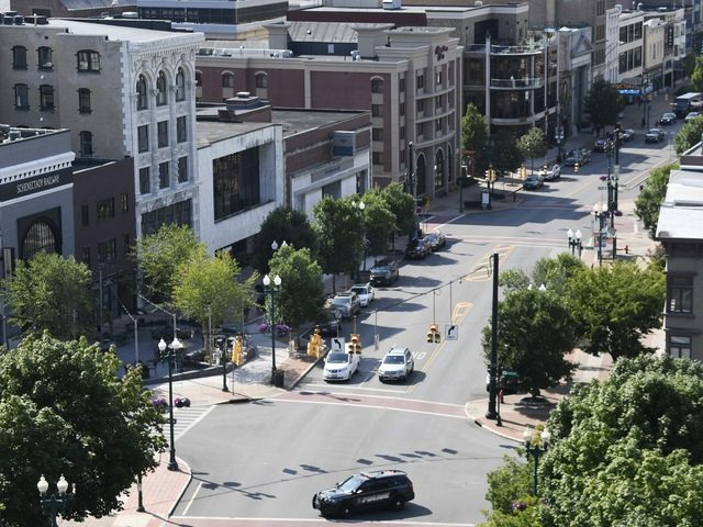 This aerial view of State Street in downtown Schenectady was taken on Aug. 15.